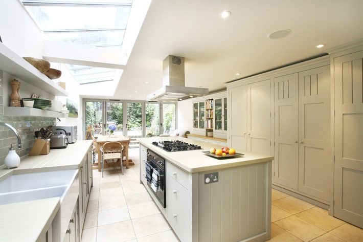 Glass side return kitchen extension HUGE amount of matching cupboards - all too much kitchen so balance of room lost.  Walk in larder for lots of that storage would alleviate the look.  Sofa and chairs at end become nothing in this layout
