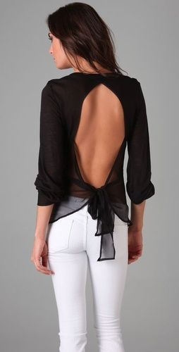 Chiffon Bow Tie Back Top: Bows Ties, Open Back Top, Backless Tops, Black White, White Pants, Open Backs, White Jeans, Open Back, Backless Shirts