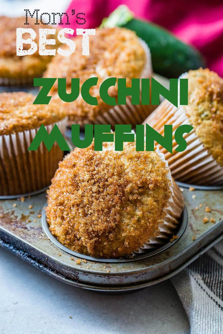 Mom's best zucchini muffins only need a few ingredients but the sour cream is the most important part. Looking for recipe ideas using zucchini? Make these muffins! - from ohsweetbasil.com