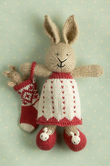 merry christmas Lotta by bunnyknitter, a greeting card. cute pattern by Julie Williams. love the bunny slippers!