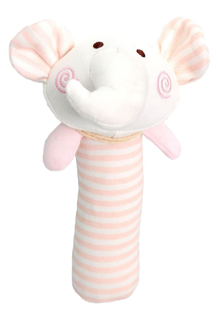 123 Grow Organix Cotton Squeakie Buddy Elephant - Pink