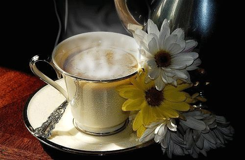 Steaming Cup of Coffee & Flowers coffee animated morning gif fresh i love coffee brewed