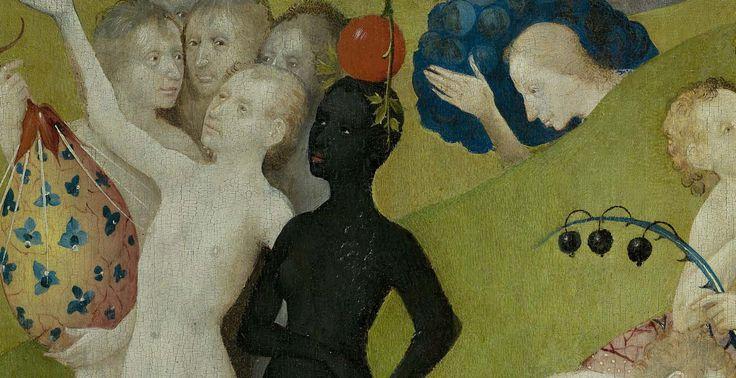 Хотя большинство фигур в центре панели-белый, на нем есть пару людей с темной кожей. В средневековой Европе черные люди были редким зрелищем, а затем сложившихся представлений африканцев в частности были довольно негативные. Люди из низких стран мало знают о странах за пределами Европы. Темные люди были связаны с развратом, отсутствием цивилизации и свободные нравы - ничего экзотического был поставлен наравне с сексуальностью. Возможно, он пожел представить различные  Божьи творения