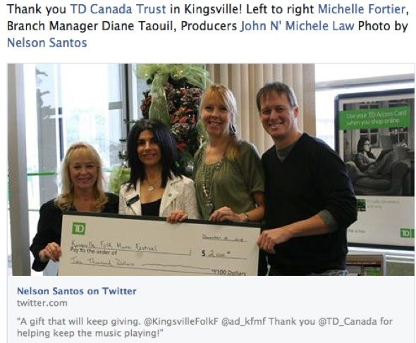 TD Bank Group donation 2015