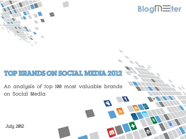 Blogmeter top brands on social media 2012 by Me-Source S.r.l./Blogmeter via Slideshare