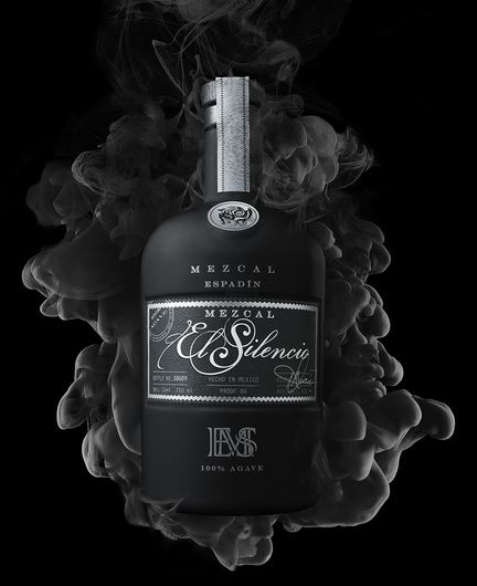 """beverage shot of el silencio mezcal tequila photo by brian kaldorf"" by Brian Kaldorf #fstoppers #Product #Tequila #alchohol #elsilencio #beverage #Bottle #liquor #black #ink #cloud #Smoke"