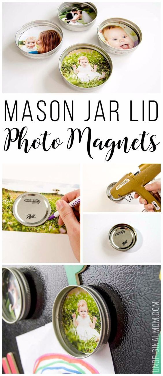 Cool Gifts to Make For Mom - Upcycled Mason Jar Lid Photo Magnets - DIY Gift Ideas and Christmas Presents for Your Mother, Mother-In-Law, Grandma, Stepmom - Creative , Holiday Crafts and Cheap DIY Gifts for The Holidays - Thoughtful Homemade Spa Day Gifts, Creative Wall Art, Special Ideas for Her - Easy Xmas Gifts to Make With Step by Step Tutorials and Instructions http://diyjoy.com/cheap-holiday-gift-ideas-to-make