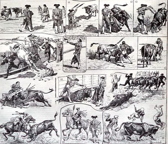 Antique Bullfighting Matador Engraving Print Bullfight Print