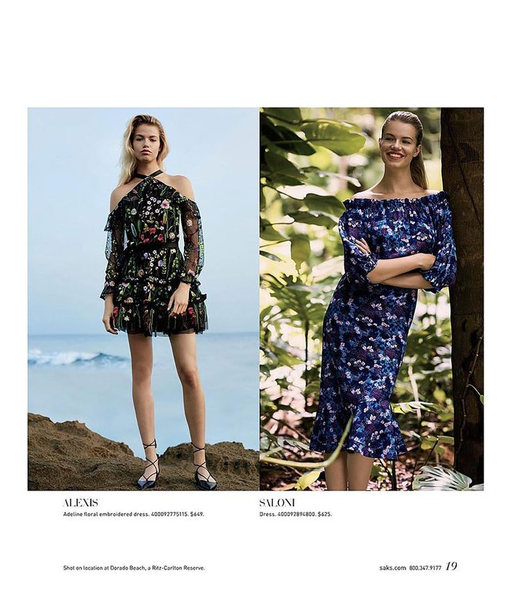 (Left) Alexis Adeline Floral Embroidered Dress (Right) Saloni Grace Silk Off-the-Shoulder Dress