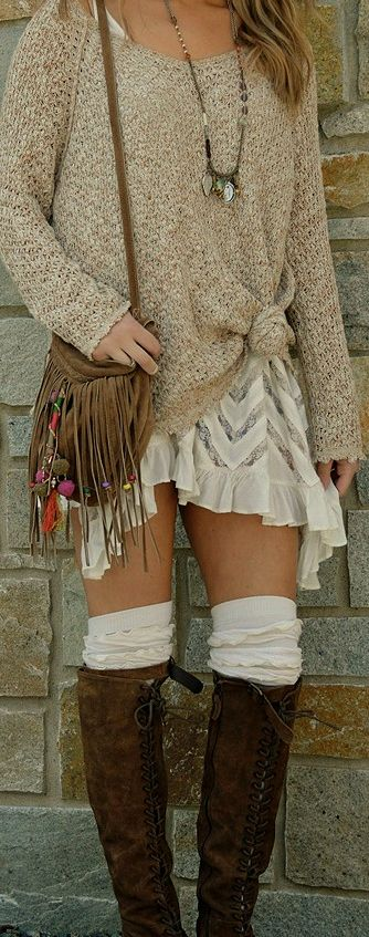 Love the thigh highs with boots, the oversized sweater and short flowy dress..