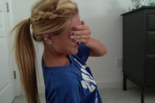 boho braid+ponytail, so cute for long hair