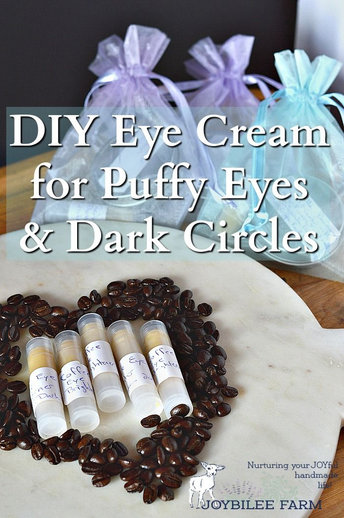 """Are you tired of looking in the mirror and seeing baggy eyes, dark circles, and that """"old lady"""" look?  This DIY eye cream has natural caffeine to tighten up under eye skin, brighten those dark circles and reduce puffiness and water retention.  While it won't make you feel 20 years younger or guarantee 8 hours of sleep, it will help reduce that tired eye look that comes from late nights, not enough sleep, or water retention.  Similiar commercial products sell for over $25 for just an ounce…"""