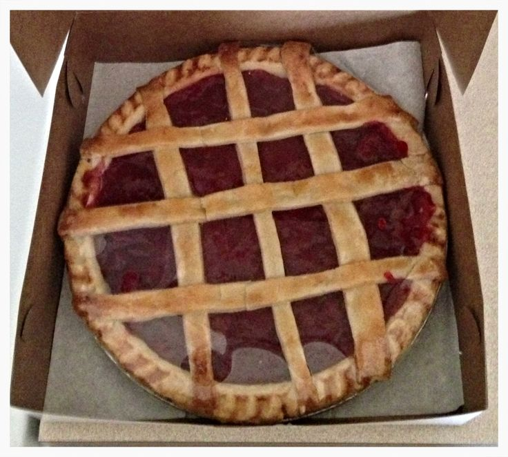 Home made strawberry rhubarb pie made by the Amish purchased in Lancaster County Pennsylvania.