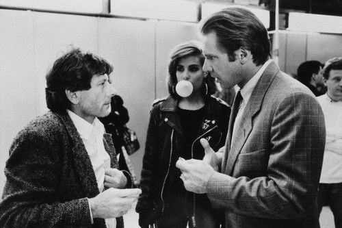Roman Polanski, Emmanuelle Seigner and Harrison Ford on set of FRANTIC (1988)