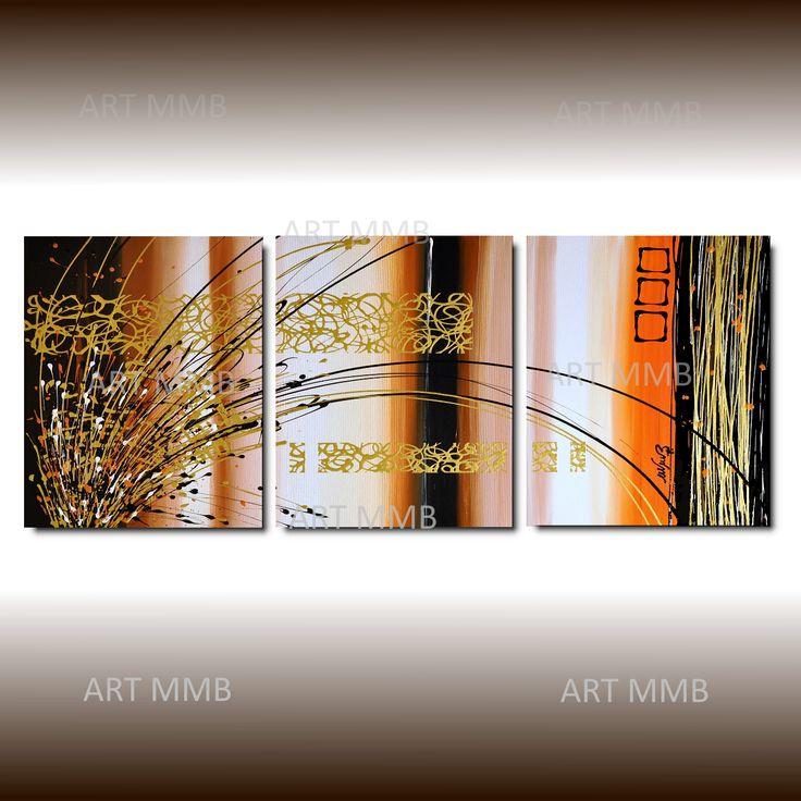 Produzione Quadri moderni astratti 100% dipinti a mano. 3 Quadri Moderni Astratti Toni del marrone beig arancione bianco nero