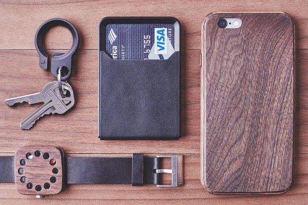 Black Leather Minimalist Wallet in Steel & Anodized Aluminum