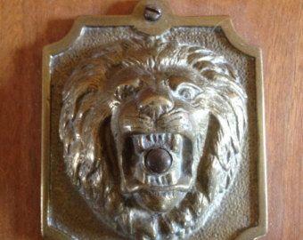 Vintage Antique Lion Door Bell Switch Servants Bell Plate Escutcheon Rosette