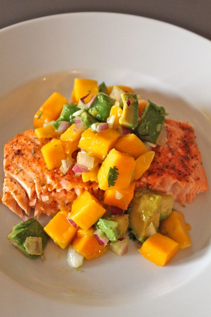 Salmon & Mango Salsa    For Mango Salsa:  1 mango, cubed  1 avocado, cubed, 1/4 cup red onion, diced, 2 tablespoons fresh cilantro, chopped,     2 tablespoons lime juice  1/2 tablespoon olive oil  1/2 teaspoon Sea Salt     Toss all of the ingredients together and serve over top of the Salmon.