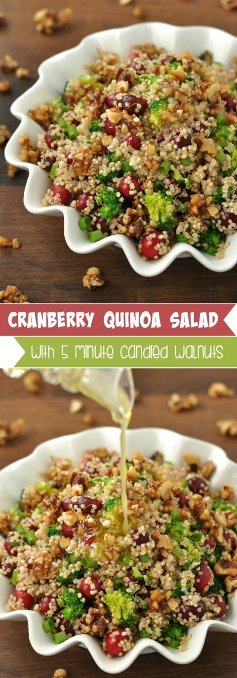Cranberry Quinoa Salad with 5 Minute Homemade Candied Walnuts