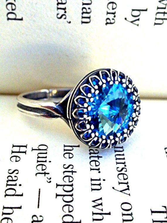 Victorian Gothic Ring  Aquamarine Swarovski by ApplebiteJewelry, €22.00 #Etsy #EtsyTreasury #AprilShine #Handmade #Jewelry