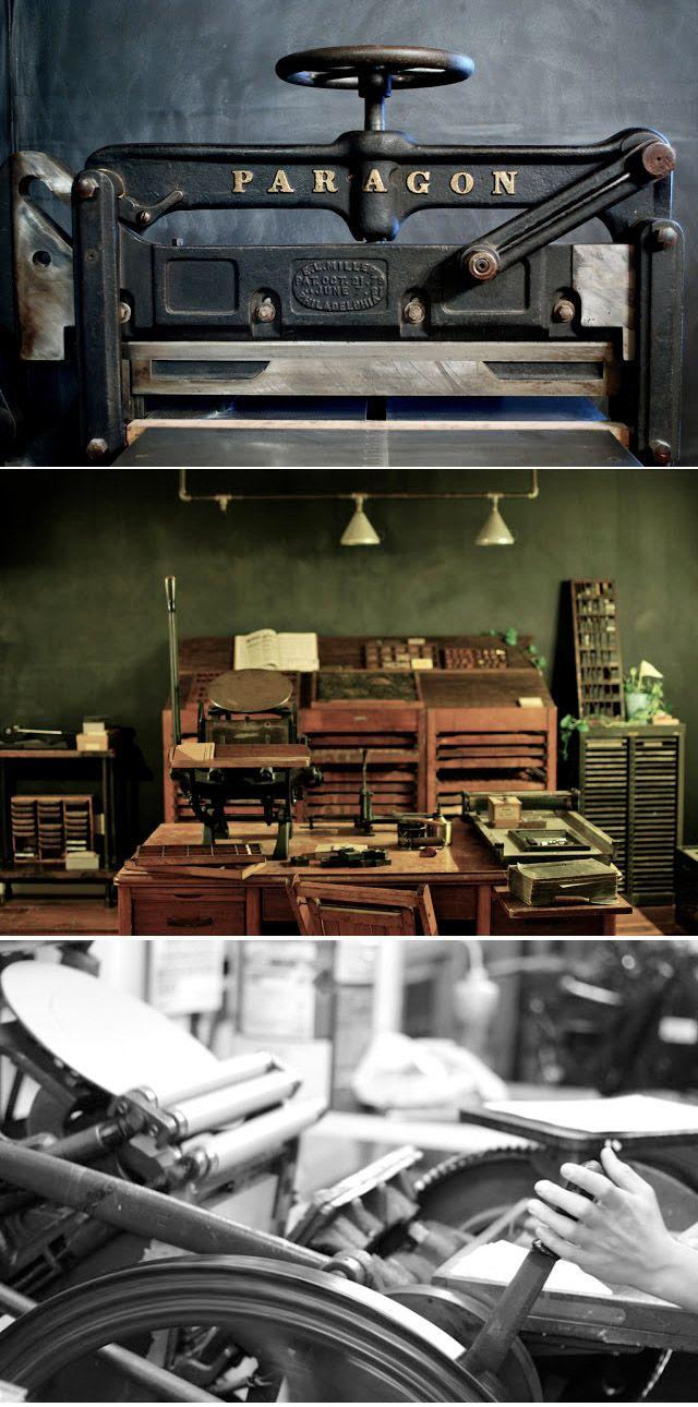 Bespoke Press - Letterpress Studio  http://www.woodlandpapercuts.com/2011/10/letterpress-studios.html