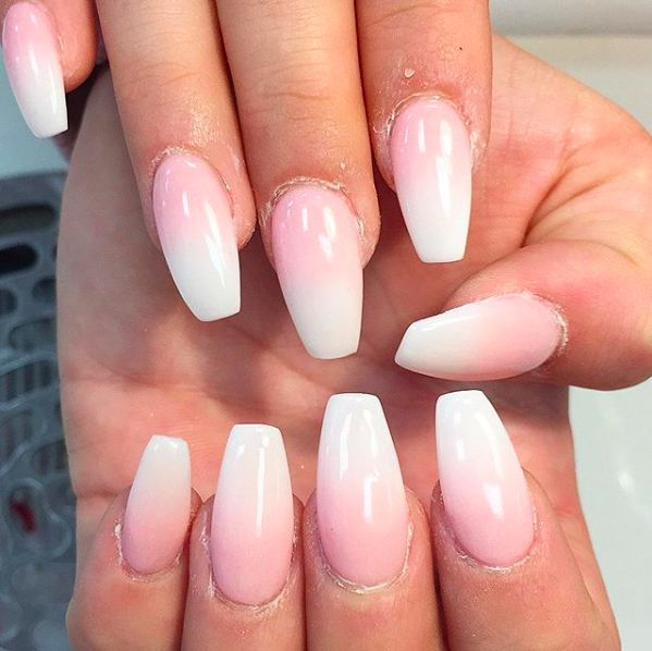 Basic Pink N White Ombre Acrylic Set