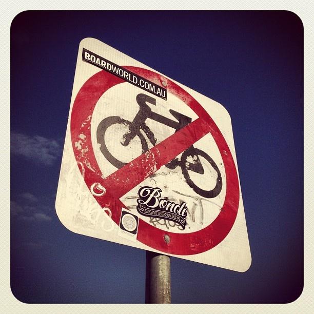 Boarding, Biking & Blue Sky at Bondi #bike #atbondi #sign #board #summer #sydney