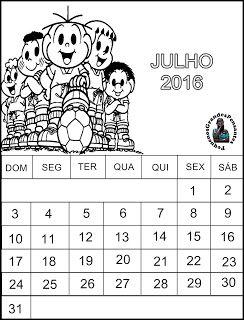 Calendário turma da Mônica - Julho 2016                                                                                                                                                      Mais