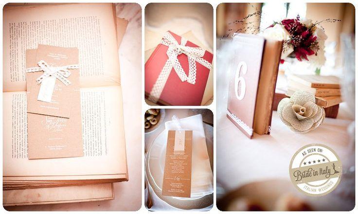 Book themed wedding stationery by cutANDpaste, ph Infraordinario http://www.brideinitaly.com/2013/01/real-wedding-crafty-chic-per-amanti.html #crafty #italianstyle