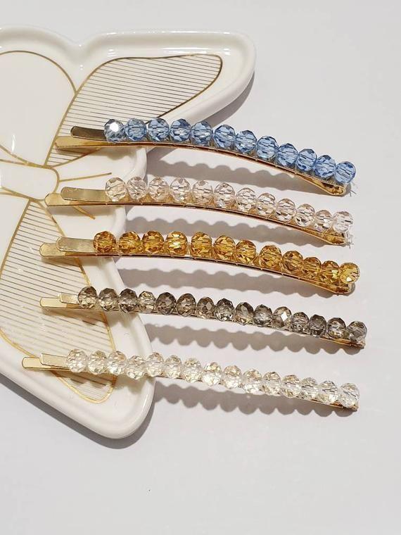 Women Crystal Rhinestone Snap Hair Clips Hairpin Slide Grip Barrette Charm Decor