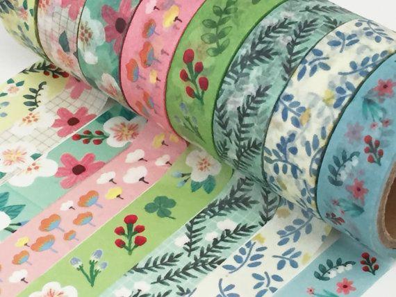 Floral Washi Tape Set -  8 Roll Set, Flower Foliage Washi Tape,  Tulip Passion Flower Washi Tape, Leaves Leaf, Washi Tape Selection UK