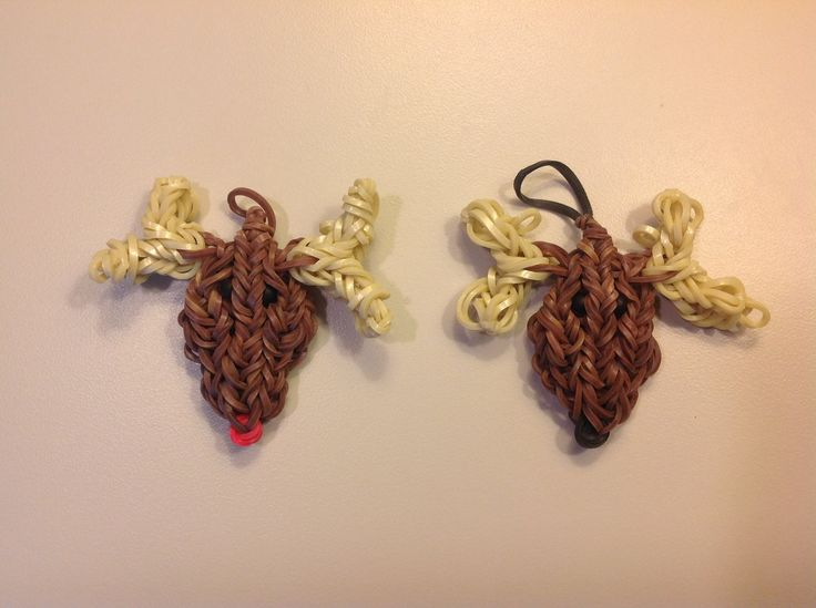 How To Make A Rainbow Loom Christmas Reindeer or Rudolph Charm Ornament