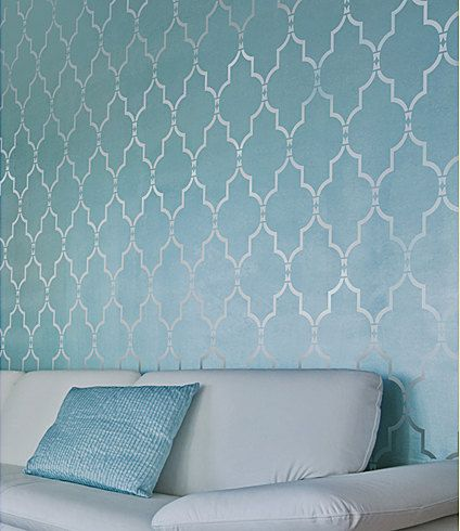 Try stencils instead of expensive wallpaper! Cutting Edge Stencils offers the best stencils for DIY decor - stencils designed by professional