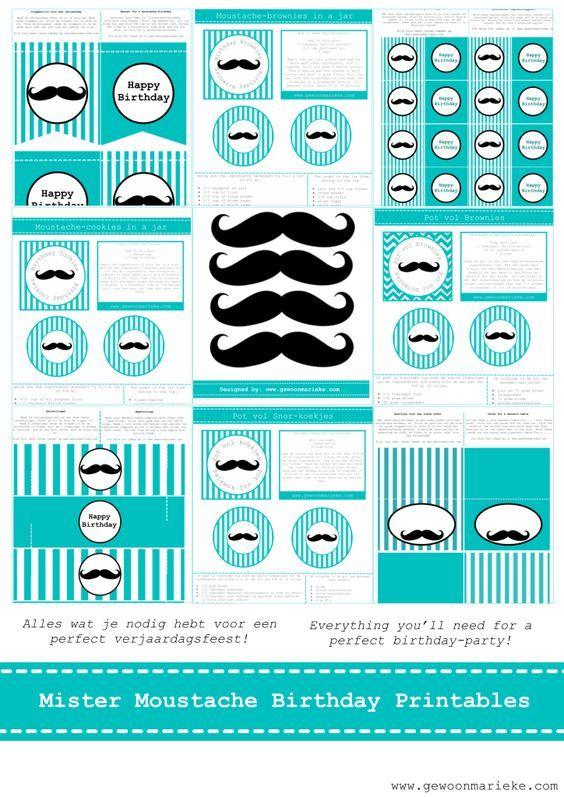 Imprimibles Moustache Party: