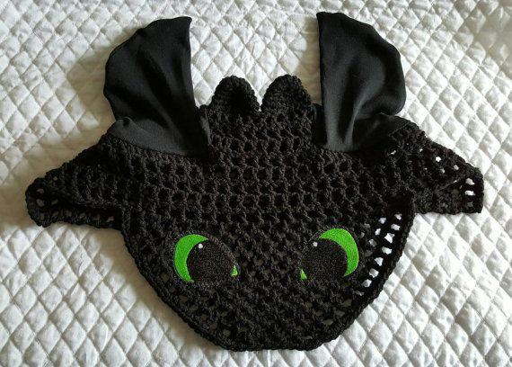 Horse Pony Fly Bonnet Fly Veil Ear Bonnet BLACK by ManeAlternative