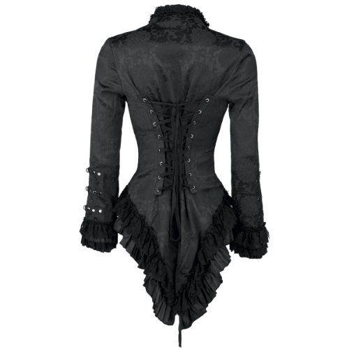 Elegante schwarze viktorianische Gothik Jacke mit schwarzer Spitze und Verzierungen  Back