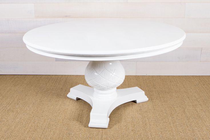 White 150cm round pineapple table - Portobello Home