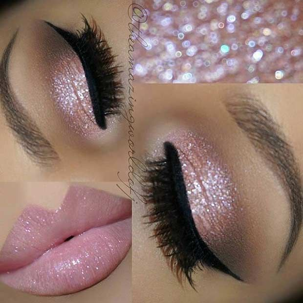 Pink Glitter Eyes   Pink Lips Glitter can be a girl's best friend, especially on her wedding day. Glitter on your eyes, as well as your lips, will definitely stand out. This is makeup look is soft and girly. As you can see, you don't need to use bright colours to sparkle. 12. Smokey Brown Cut Crease A