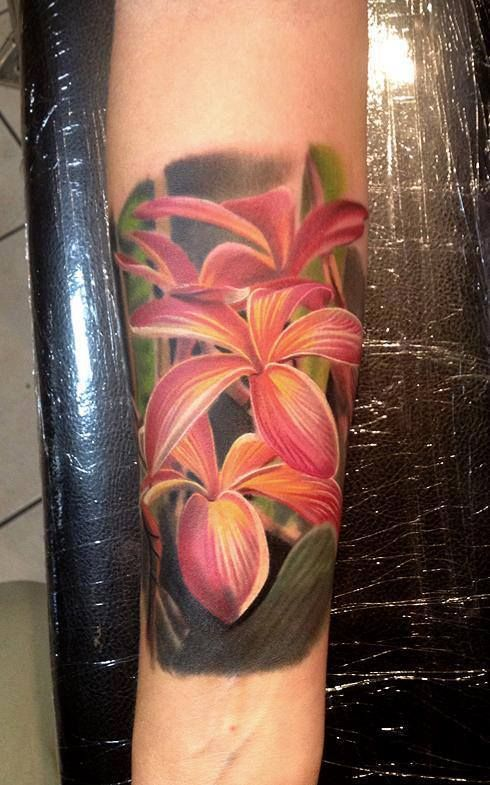 3D Pink Flowers Tattoo - Phil Garcia http://best3dtattoos.com/flower-3d-tattoos/3d-pink-flowers-tattoo-phil-garcia/