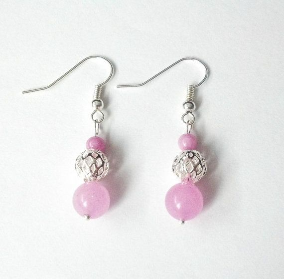 Pink earrings Dangle earrings Shiny earrings Pink by CatiShop