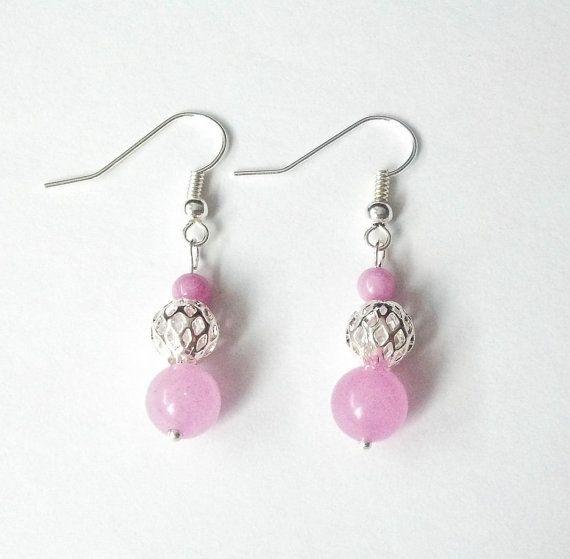 Pink earrings Dangle earrings Shiny earrings Pink by CatiShop