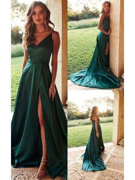 A,Line V,Neck Long Prom Dresses Formal Evening Dresses