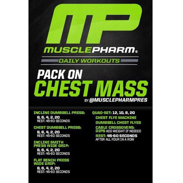 #MP Workout of the Day! Pack on Chest Mass by @MusclePharmPres  Powered by #Assault!  Tag someone that wants a bigger chest!
