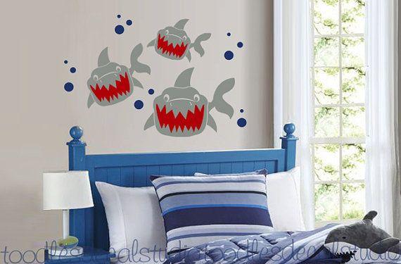 Shark Trio Fish Hawaii Ocean Beach Boys Surfer Kids Vinyl Wall Decal Sticker on Etsy, $34.50