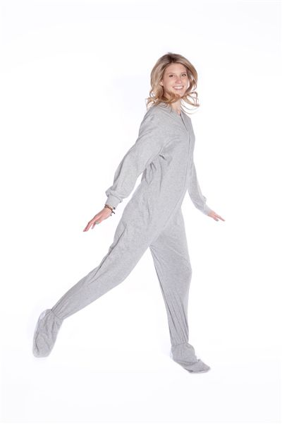 Jersey Knit Adult Footed Pajamas in Light Gray