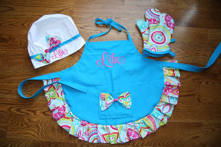 Made to Order Custom Embroidered  Aprons Personalized Aprons Child Apron Personalized Apron Girl Apron toddler apron birthday gifts by RedBobbinDesigns on Etsy