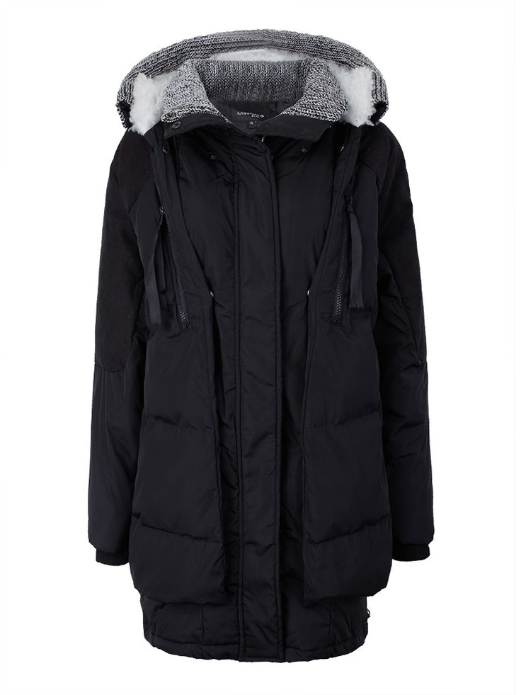 Sale 21% (22.32$) - Plus Size Casual Winter Outwear Zipper Knit Patchwork Hood Down Coat