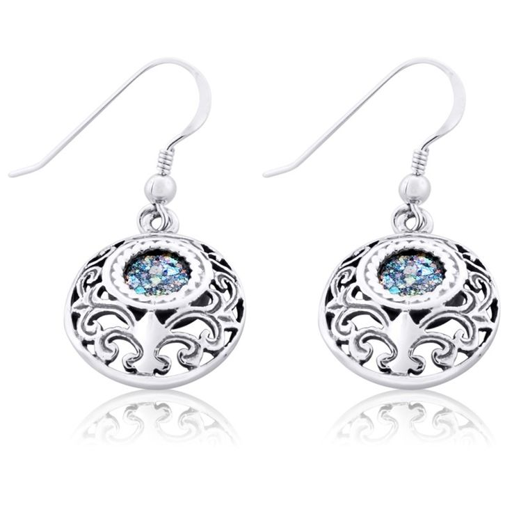 """925 Sterling Silver and Roman Glass Size: 0.6"""" X 0.8"""" / 1.7 X 2.1 cm These amazingly beautiful earrings feature the stunning hues of blue and green Roman Glass set"""