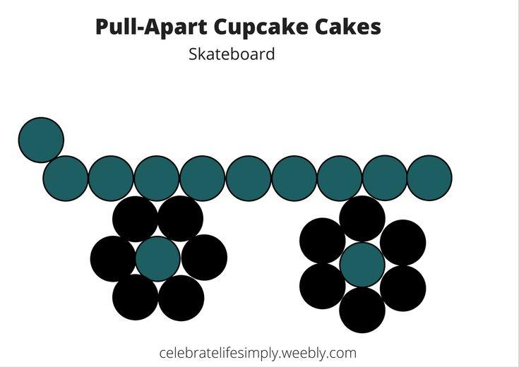 Skateboard Pull-Apart Cupcake Cake Template