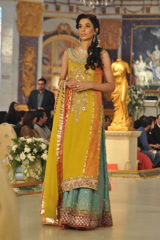 Yellow and Jade mehndi outfit